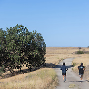 Running in the hills of the Santa Monica Mountains after entering at the Victory Trailhead in West Hills, California.
