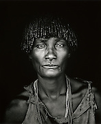 Portrait of woman of the Hamer tribe of Ethiopia, in the Omo Valley, Ethiopia
