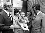 The winner of the annual Heinz Baby of the Year Competition, with her proud parents, outside Jury's Hotel, Ballsbridge, Dublin.<br /> 27 October 1981<br /> Baby contacted Irish Photo Archive 39 years on!<br /> My name is Carol Cullen nee Clarke. I am the baby in those photos accompanied by my wonderful mum and dad Nancy and Michael Clarke. <br /> These are beautiful photos. Thank you for uploading them. I was also pictured on the front of the Womans Way magazine the same year. I'm turning 40 in December and to see these is very special.