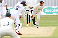 Muhammad Abbas beats Harvey Hosein during the Specsavers County Champ Div 2 match between Leicestershire County Cricket Club and Derbyshire County Cricket Club at the Fischer County Ground, Grace Road, Leicester, United Kingdom on 27 May 2019.