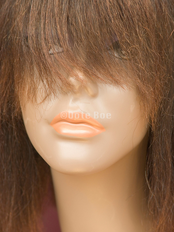 Close up of a wig on mannequin's head