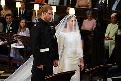 Prince Harry and Meghan Markle in St George's Chapel at Windsor Castle for their wedding.