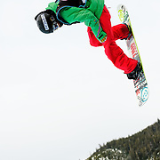 Japanese National Snowboard Team member Kazuumi Fujita takes to the air during a training run before the finals at the 2009 LG Snowboard FIS World Cup at Cypress Mountain, British Columbia, on February 16th, 2009. Fujita finished 4th in a field of 70.