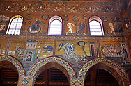 South wall mosaics depicting the bibliacl story of Noah in the Norman-Byzantine medieval cathedral  of Monreale,  province of Palermo, Sicily, Italy. .<br /> <br /> If you prefer you can also buy from our ALAMY PHOTO LIBRARY  Collection visit : https://www.alamy.com/portfolio/paul-williams-funkystock/monrealeduomomosaics.html. Refine search by adding subject etc  into the LOWER SEARCH WITHIN GALLERY box. <br /> <br /> Visit our BYZANTINE MOSAIC PHOTO COLLECTION for more   photos  to download or buy as prints https://funkystock.photoshelter.com/gallery-collection/Roman-Byzantine-Art-Artefacts-Antiquities-Historic-Sites-Pictures-Images-of/C0000lW_87AclrOk