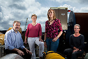 Left to right: Peter Challenor, Christine Gommenginger, Penny Holliday and Margaret Yelland. Scientists at the National Oceanographic Centre in Southampton pictured on the docks and around the centre with equipment used for gathering data from the oceans. They are particularly interested studying the relationship of  wave activity to global warming.