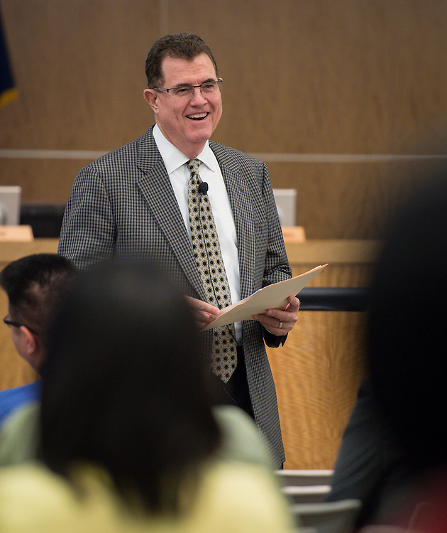 Houston ISD superintendent Dr. Terry Grier updates staff on current projects and issues during a Central Office staff meeting, April 8, 2014.