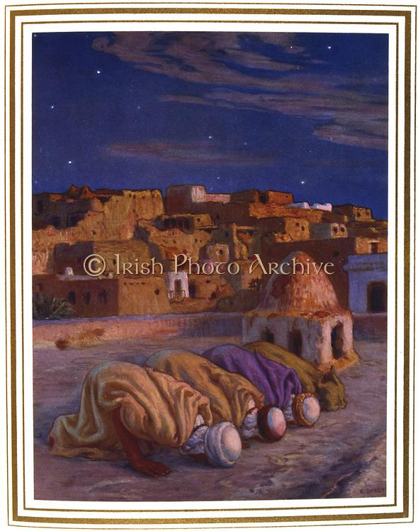 Prostration in prayer.  Illustration by E. Dinet (1861-1929) for La Vie de Mohammed, prophete d'Allah.