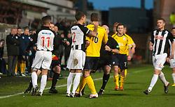 Dunfermline's Jordan McMillan holds Falkirk's Stewart Murdoch after Dunfermline's Josh Falkingham tackle on Falkirk's Thomas Grant..Dunfermline 0 v 1 Falkirk, 26/12/2012..©Michael Schofield.