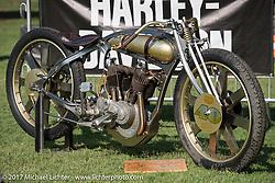 Matt Harris' 1921 Harley-Davidson JD modeled after 1918 HD patent at the Born Free 9 Motorcycle Show. Costa Mesa, CA. USA. Friday June 23, 2017. Photography ©2017 Michael Lichter.