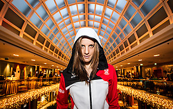 28.01.2014,  Marriott, Wien, AUT, Sochi 2014, Einkleidung OeOC, im Bild Julia Dujmovits (Snowboard) // Julia Dujmovits (Snowboard)<br /> during the outfitting of the Austrian National Olympic Committee for Sochi 2014 at the  Marriott in Vienna, Austria on 2014/01/28. EXPA Pictures © 2014, PhotoCredit: EXPA/ JFK