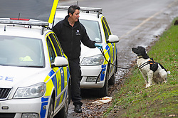 ©Licensed to London News Pictures 07/12/2019.<br /> Dartford,UK. A police dog arriving on scene to help with the investigation.  A large police cordon is in place around woodland at Dartford Heath, Dartford,Kent. <br /> According to Local media Kent police are investigating the rape of a woman on Thursday 5th December. Police arrived at the scene yesterday afternoon (6th December).<br /> Photo credit: Grant Falvey/LNP