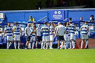 Play stops and Queens Park Rangers players take refreshments during the EFL Sky Bet Championship match between Queens Park Rangers and Barnsley at the Kiyan Prince Foundation Stadium, London, England on 20 June 2020.