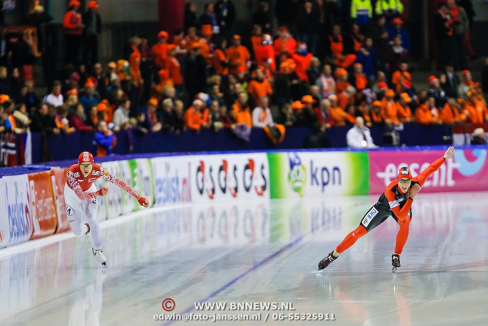 NLD/Heerenveen/20130111 - ISU Europees Kampioenschap Allround schaatsen 2013, 5000 meter heren, Robert Lehmann - Denia Yuskov