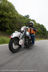 Mark Hill riding his 1936 Indian Four during Stage 4 of the Motorcycle Cannonball Cross-Country Endurance Run, which on this day ran from Chatanooga to Clarksville, TN., USA. Monday, September 8, 2014.  Photography ©2014 Michael Lichter.