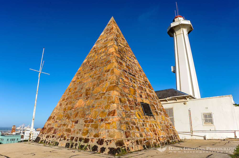 Port Elizabeth, South Africa. The Donkin Reserve was proclaimed by the founder of the city, Sir Rufane Donkin. The pyramid is a memorial of his wife Elizabeth.