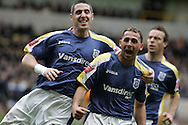 Coca Cola championship, Wolverhampton Wanderers v Cardiff City on Sunday 22nd Feb 2009 . pic by Andrew Orchard, Andrew Orchard sports photography, Cardiff's Michael Chopra (r) celebrates his goal after scoring to make it 1-1
