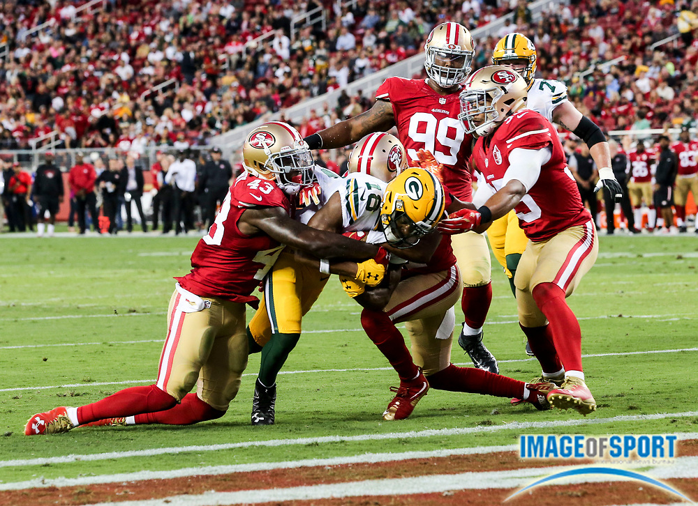 Aug 26, 2016, Santa Clara, CA, USA; Green Bay wide receiver Randall Cobb (18) scores on a 6-yard touchdown reception in the second quarter against the San Francisco 49ers in a preseason NFL game at Levi's Stadium. Green Bay beat San Francisco 21-10.