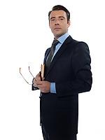 man caucasian teacher professor holding book isolated studio on white background