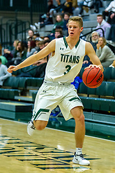 BLOOMINGTON, IL - November 12: Cory Noe during a college basketball game between the IWU Titans  and the Blackburn Beavers on November 12 2019 at Shirk Center in Bloomington, IL. (Photo by Alan Look)