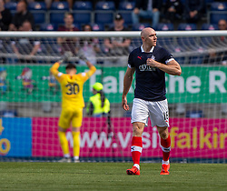 Falkirk's Connor Sammon cele scoring their goal. Falkirk 1 v 1 Livingston, Livingston win 4-3 on penalties. BetFred Cup game played 13/7/2019 at The Falkirk Stadium.