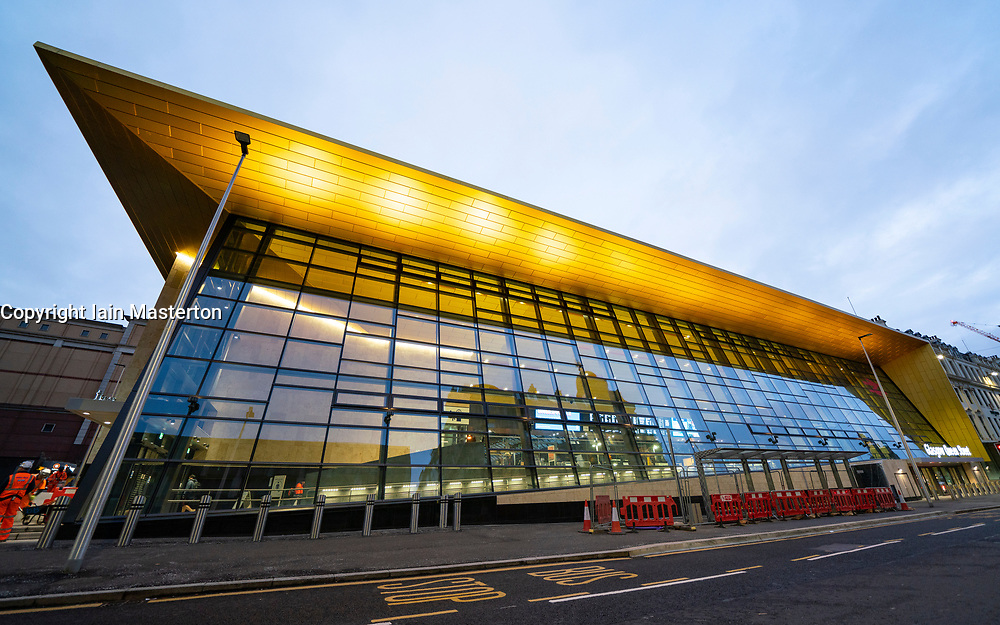 Exterior view of new facade of Glasgow Queen Street station in Glasgow, Scotland, UK