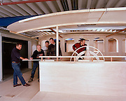 Athena, a three masted schooner,  built by the Royal Huisman Shipyard of Vollenhove, Holland.  A mock-up of the pilot house was built to help visualize the space for critical placement of controls.