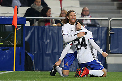 December 5, 2017 - Lisbon, Portugal - Basel's midfielder Mohamed Elyounoussi from Norway celebrates with Basel's defender Michael Lang from Suisse (L ) after scoring a goal during the UEFA Champions League Group A football match between SL Benfica and FC Basel at the Luz stadium in Lisbon, Portugal on December 5, 2017. Photo: Pedro Fiuza (Credit Image: © Pedro Fiuza via ZUMA Wire)
