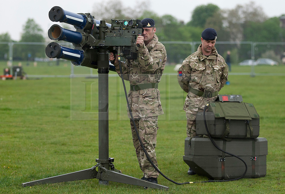 © Licensed to London News Pictures. 03/05/2012. LONDON, UK. Two members of 16 Regiment Royal Artillery man a Starstreak High Velocity Missile System (HVM) at Blackheath in London today (03/05/12). The missiles have been deployed as part of an exercise involving the RAF, British Army and Royal Navy taking place across London as part of security preparations for the 2012 London Olympic Games. Photo credit: Matt Cetti-Roberts/LNP