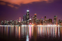 Downtown Chicago on Lake Michigan (Night-2)