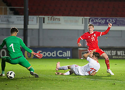 NEWPORT, WALES - Tuesday, October 16, 2018: Wales' Connor Evans scores his second goal of the game during the UEFA Under-21 Championship Italy 2019 Qualifying Group B match between Wales and Switzerland at Rodney Parade. (Pic by Laura Malkin/Propaganda)