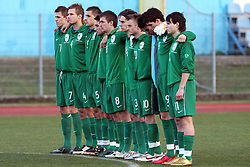Team of Slovenia from left: Josip Ilicic (7), Gregor Balazic (4), Boris Mijatovic (5), Ales Majer (2), Armin Bacinovic (8), Nikola Tolimir (6), Matija Skarabot (3), Rene Mihelic (10), Goalkeeper of Slovenia Jan Koprivec, Vito Plut (9)  and Etien Velikonja (11)  has 1 min silence in the honour of recently dead Romanian handball player before Friendly match between U-21 National teams of Slovenia and Romania, on February 11, 2009, in Nova Gorica, Slovenia. (Photo by Vid Ponikvar / Sportida)
