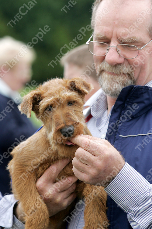 Cratloe Funday Doggie show 2007 was held at Cratloe GAA Pitch Sunday Sept 23rd in aid of Cratloe community Sprts hall.<br />PIctured is Tom O'Shea with his irish terrier Aricish going in for 'dog that looks most like its owner' competition.<br />Pic. Emma Jervis/ press 22