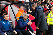 AFC Bournemouth manager Eddie Howe shakes hands with West Ham Utd manager Manuel Pellegrini before the Premier League match between Bournemouth and West Ham United at the Vitality Stadium, Bournemouth, England on 19 January 2019.