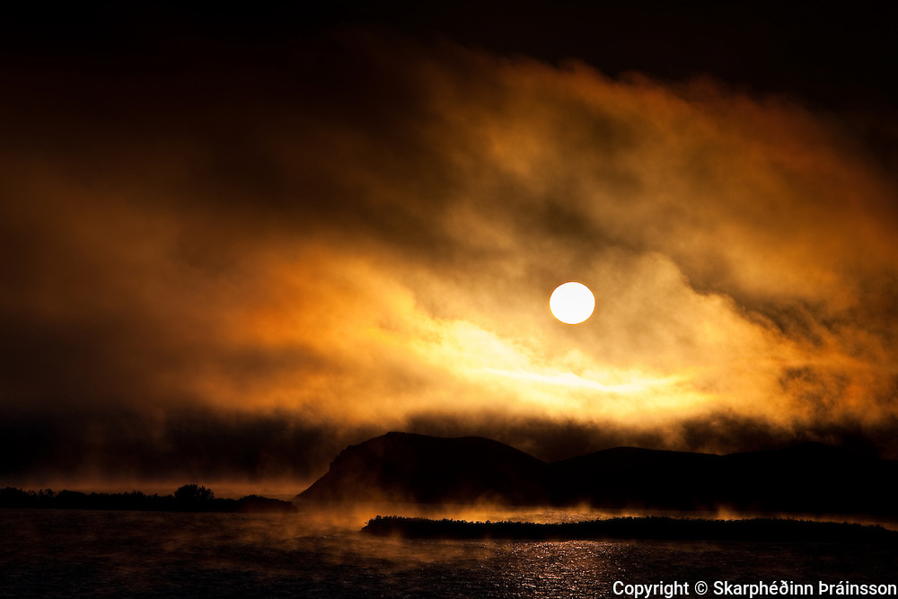 Dark mood and fog at Mývatn, north Iceland
