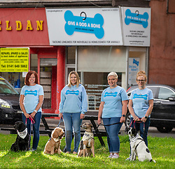 Wendy Hood, founder Louise Russell, Linsay Macphail and Julie-Anne Anderson-Mckinlay, at The Give A Dog A Bone charity in Shawlands.