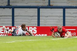 Bristol Full Back Auguy Slowik scores a try - Photo mandatory by-line: Rogan Thomson/JMP - 07966 386802 - 14/09/2014 - SPORT - RUGBY UNION - Leeds, England - Headingley Carnegie Stadium - Yorkshire Carnegie v Bristol Rugby - Greene King IPA Championship.