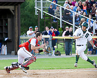 Pittsfield Catcher Wesley Ward tags out Sunapee's Troy Fowler as he tries to steal home during NHIAA Division IV semi final play at PSU Wednesday evening.  (Karen Bobotas/for the Concord Monitor)