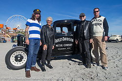 Harley-Davidson's Willie G Davidson with his wife Nancy at the Race of Gentlemen. Wildwood, NJ, USA. October 11, 2015.  Photography ©2015 Michael Lichter.