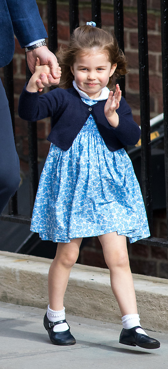© Licensed to London News Pictures. 23/04/2018. London, UK. Princess Charlotte of Cambridge arrives at the Lindo Wing of St Mary's Hospital in west London with with her father, the Duke of Cambridge (not pictured) and brother Prince George of Cambridge (not pictured). Her mother, the Duchess of Cambridge has given birth to her third son, safely delivered at 11:01 AM today. He weighed 8lbs 7oz and is fifth in line to the throne. Photo credit : Tom Nicholson/LNP