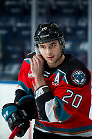 KELOWNA, BC - MARCH 11: Matthew Wedman #20 of the Kelowna Rockets does up his helmet during warm up against the Victoria Royals at Prospera Place on March 11, 2020 in Kelowna, Canada. (Photo by Marissa Baecker/Shoot the Breeze)