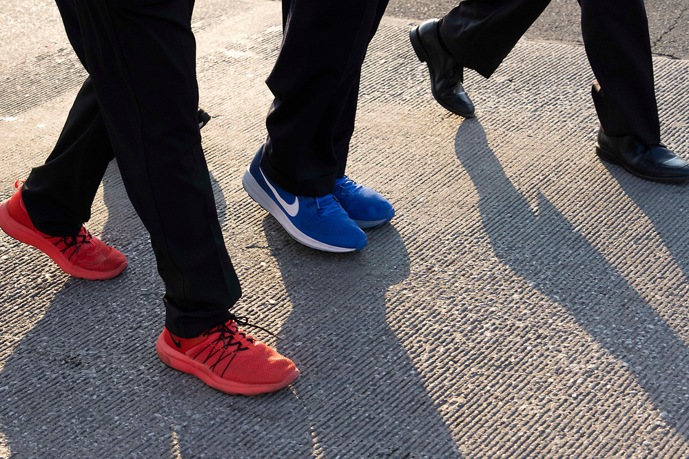 The blue shoes of the Rev.  JESSE JACKSON, longtime Democratic activist,  looks at the assembled crowd as voting rights groups march toward the Texas Capitol from north Austin on the third day of a 30-mile journey protesting Republican efforts to suppress votes nationwide and in Texas. Shifts of marchers trade off in an effort to combat oppressive Texas heat.