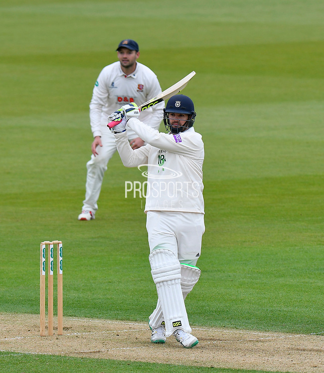 Rilee Rossouw of Hampshire attacks the bowling during the first day of the Specsavers County Champ Div 1 match between Hampshire County Cricket Club and Essex County Cricket Club at the Ageas Bowl, Southampton, United Kingdom on 5 April 2019.