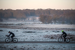 © Licensed to London News Pictures. 19/01/2020. London, UK. Two men cycle through a frost covered landscape at sunrise in Richmond Park in west London on a bright and freezing Winter morning. Photo credit: Ben Cawthra/LNP