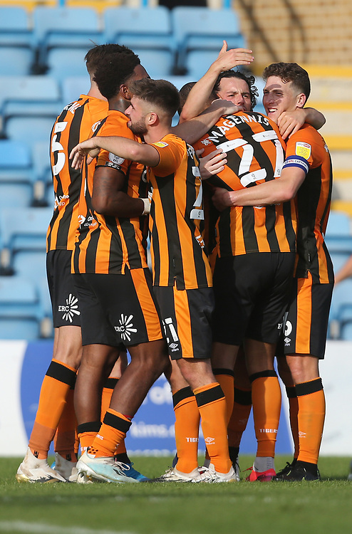 Hull City's Josh Magennis is congratulated after scoring his side's second goal<br /> <br /> Photographer Rob Newell/CameraSport<br /> <br /> The EFL Sky Bet League One - Gillingham v Hull City - Saturday September 12th 2020 - Priestfield Stadium - Gillingham<br /> <br /> World Copyright © 2020 CameraSport. All rights reserved. 43 Linden Ave. Countesthorpe. Leicester. England. LE8 5PG - Tel: +44 (0) 116 277 4147 - admin@camerasport.com - www.camerasport.com