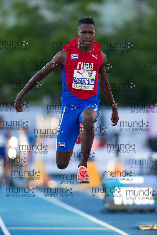 Toronto, ON -- 10 August 2018: Jordan Alejandro Diaz Fortun (Cuba), triple jump at the 2018 North America, Central America, and Caribbean Athletics Association (NACAC) Track and Field Championships held at Varsity Stadium, Toronto, Canada. (Photo by Sean Burges / Mundo Sport Images).