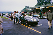 Whitsun Sports car race 3 June 1963, John Coundley in Jaguar D-type car on start line, Goodwood, England, UK