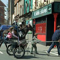 Europe, Ireland, Dublin. Cart before the horse crossing Dublin street.