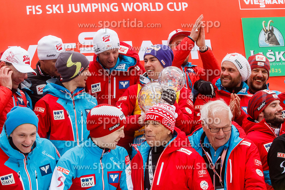 Stefan Kraft and his coach Heinz Kuttin of Austria with team during trophy ceremony after Ski Flying Hill Men's Individual Competition at Day 4 of FIS Ski Jumping World Cup Final 2017, on March 26, 2017 in Planica, Slovenia. Photo by Grega Valancic / Sportida