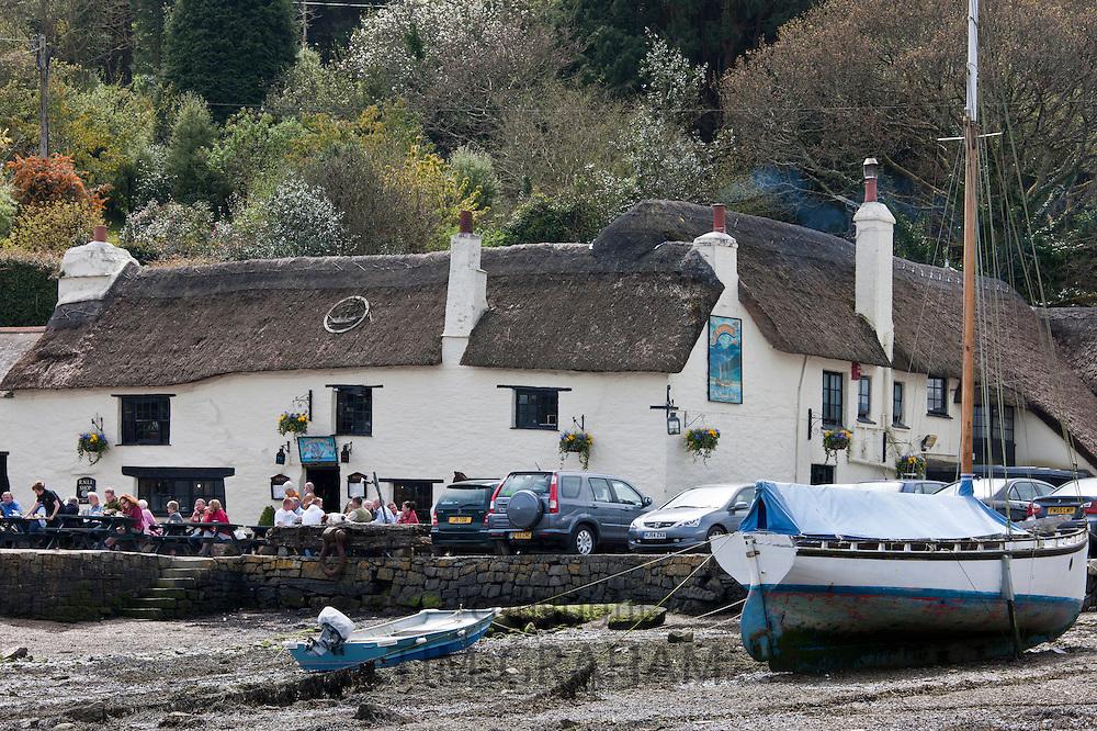 The Pandora Inn, popular as a tourist destination, Cornwall, England, UK