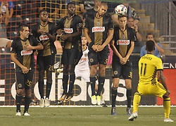 July 26, 2017 - Chester, PA, United States of America - Philadelphia Union Defender JACK ELLIOTT (3) deflects the ball in the mist of a free kick in the second half of a Major League Soccer match between the Philadelphia Union and Columbus Crew SC Wednesday, July. 26, 2017, at Talen Energy Stadium in Chester, PA. (Credit Image: © Saquan Stimpson via ZUMA Wire)